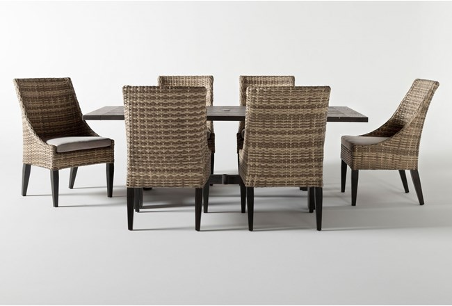 Panama Outdoor Rectangle 7 Piece Dining Set With Capri II Chairs - 360