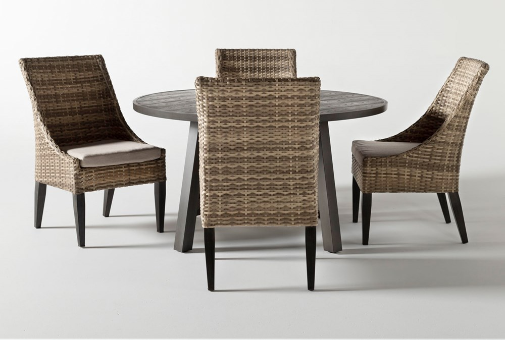 Panama Outdoor Round 5 Piece Dining Set With Capri II Chairs