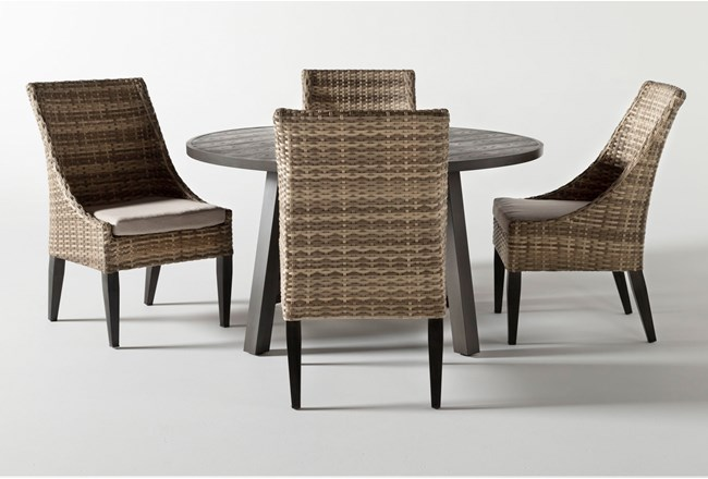 Panama Outdoor Round 5 Piece Dining Set With Capri II Chairs - 360