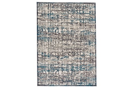 96X132 Rug-Abstract Grid Grey/Turquoise