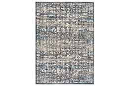 """10'x13'1"""" Rug-Abstract Grid Grey/Turquoise"""