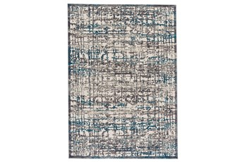 34X94 Rug-Abstract Grid Grey/Turquoise
