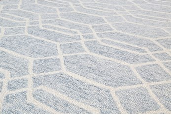 8'x10' Rug-Geometric Overlap Blue/Ivory