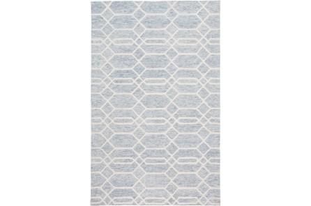 60X96 Rug-Geometric Overlap Blue/Ivory