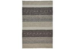 5'x8' Rug-Textured Wool Stripe Grey/Sand