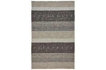 60X96 Rug-Textured Wool Stripe Grey/Sand