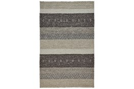 96X132 Rug-Textured Wool Stripe Grey/Sand