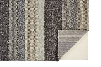 114X162 Rug-Textured Wool Stripe Grey/Sand