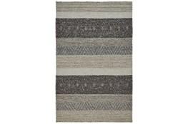 114X162 Rug-Textured Wool Stripe Grey/Sand