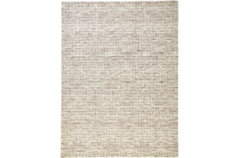 5'x8' Rug-Small Wool Grid Ivory