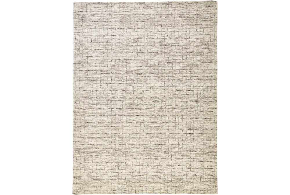96X120 Rug-Small Wool Grid Ivory