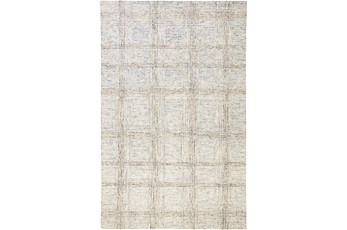 60X96 Rug-Large Wool Grid Ivory/Grey