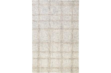 60X96 Rug-Large Wool Grid Ivory/Grey