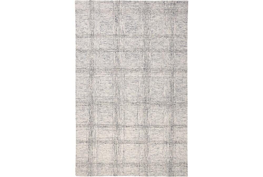 5'x8' Rug-Large Wool Grid Ivory/Grey