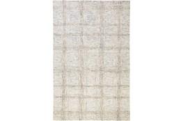 96X120 Rug-Large Wool Grid Ivory/Grey