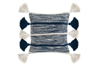 Accent Pillow-Azul Blue Knit Tassles 20X20