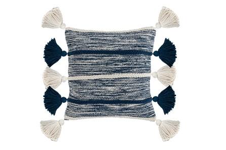 Accent Pillow-Azul Blue Knit Tassles 20X20