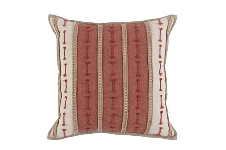 Accent Pillow-Clay/Ivory Jute Stripes 20X20