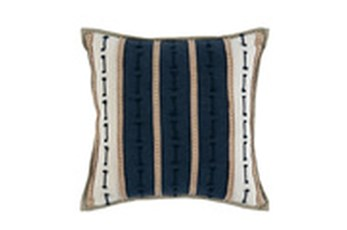 Accent Pillow-Azul Blue Jute Stripes 20X20