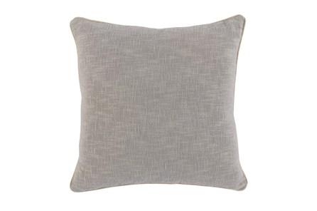 Accent Pillow-Grey Cotton Slub W/Linen Trim 22X22