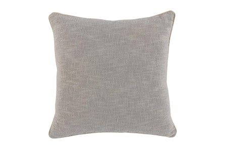 22X22 Grey Textured Cotton Solid Throw Pillow - Main