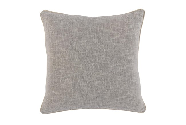 22X22 Grey Textured Cotton Solid Throw Pillow - 360