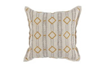 Accent Pillow-Grey/Tumeric Gold Diamond Stripes 18X18