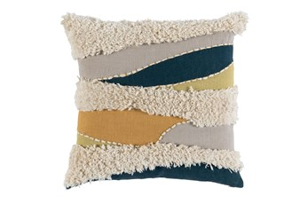 Accent Pillow-Blue Multi Boucle Waves 22X22