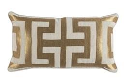 Accent Pillow-Metallic Greek Key Gold 14X26