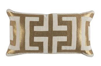 Accent Pillow-Metallic Greek Key Gold 14X26