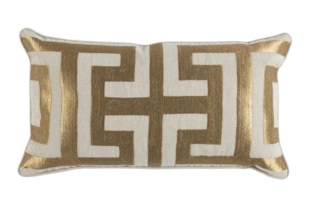 Accent Pillow-Metallic Greek Key Gold 14X26 - Main