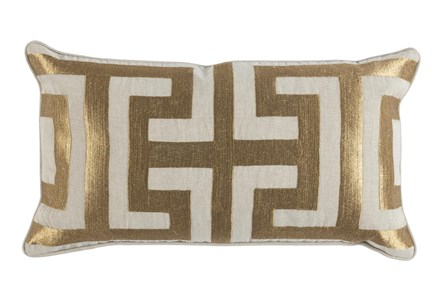 Accent Pillow-Metallic Greek Key Gold 14X26 - Main