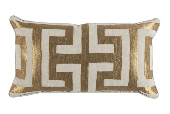 Accent Pillow-Metallic Greek Key Gold 14X26 - 360