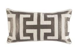Accent Pillow-Metallic Greek Key Platinum 14X26