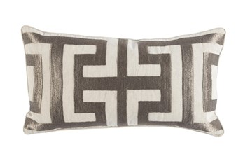 Accent Pillow-Metallic Greek Key Platinum 14X26