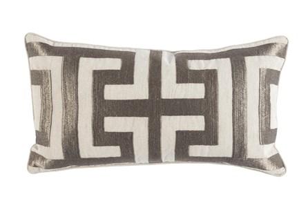 Accent Pillow-Metallic Greek Key Platinum 14X26 - Main