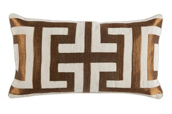 Accent Pillow-Metallic Greek Key Copper 14X26