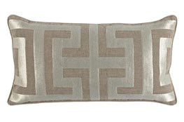 Accent Pillow-Metallic Greek Key Natural/Pearl 14X26