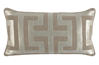 Accent Pillow-Metallic Greek Key Natural/Pearl 14X26