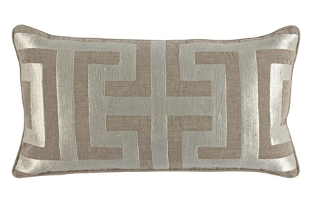 Accent Pillow-Metallic Greek Key Natural/Pearl 14X26 - Main