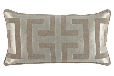 Accent Pillow-Metallic Greek Key Natural/Pearl 14X26 - Main