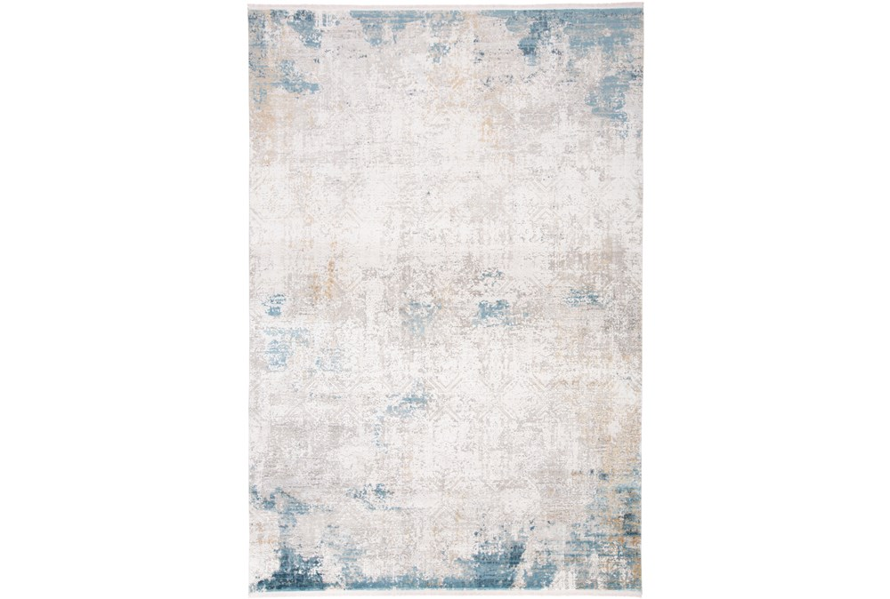 37X60 Rug-Pattern Overlay Ivory/Blue