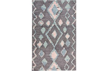 96X120 Rug-Lineal Multi Colored Tribal Diamonds Navy