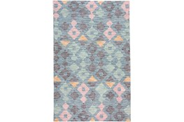 "3'5""x5'5"" Rug-Multi Colored Tribal Diamonds Navy"