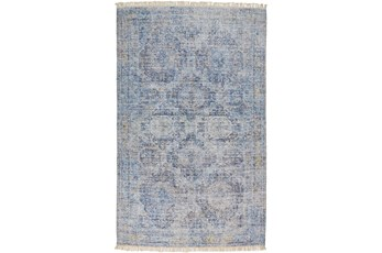90X114 Rug-Faded Traditional Blue