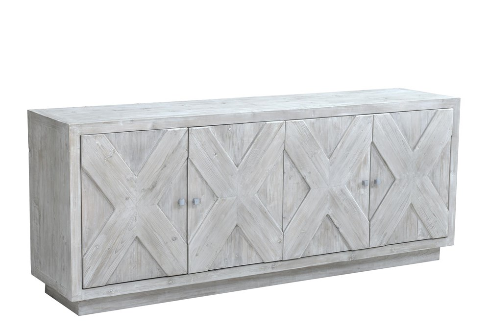 "White Wash X Pattern 4 Door 84"" Sideboard"