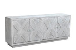 "White Wash X Pattern 4 Door 84"" Sideboard"