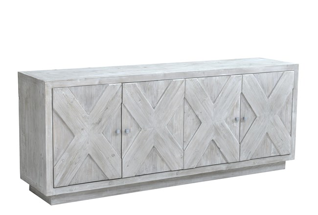 "White Wash X Pattern 4 Door 84"" Sideboard - 360"