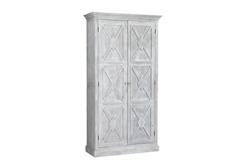 White Wash X Pattern Tall Cabinet