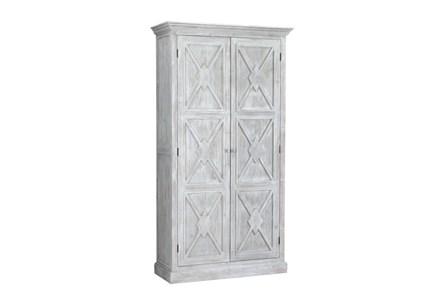 White Wash X Pattern Tall Cabinet - Main